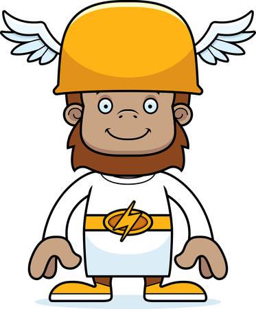 sasquatch: A cartoon Hermes sasquatch smiling.