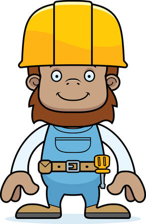tool belt: A cartoon construction worker sasquatch smiling.