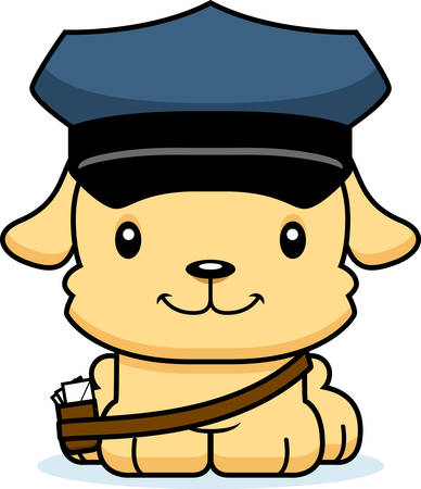 mail carrier: A cartoon mail carrier puppy smiling.
