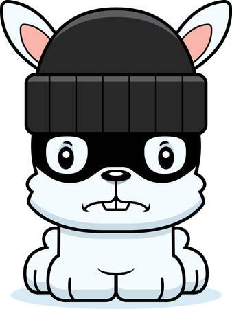 A cartoon thief bunny looking angry.