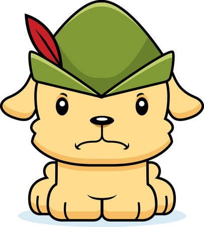 A cartoon Robin Hood puppy looking angry.
