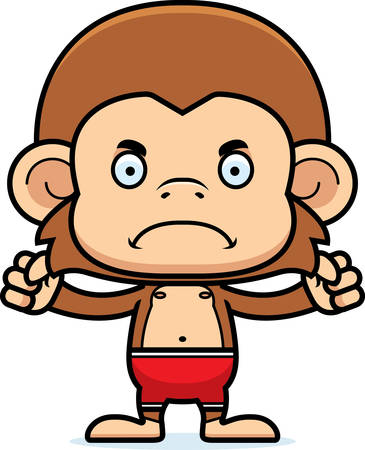 A cartoon monkey looking angry in a swimsuit.