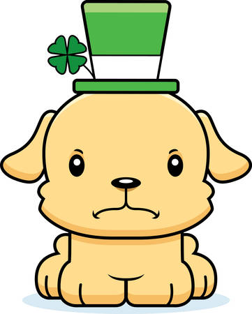 animal st  patricks day: A cartoon Irish puppy looking angry. Illustration