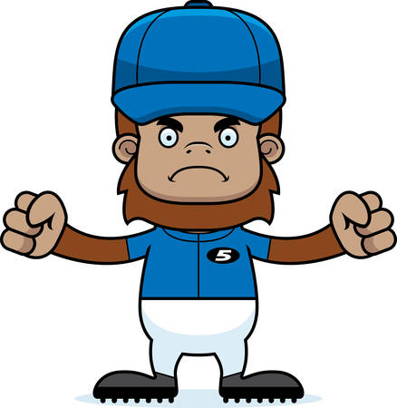 sasquatch: A cartoon baseball player sasquatch looking angry.