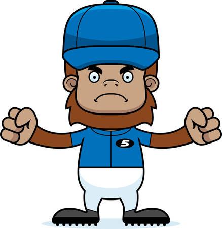 sasquatch: A cartoon baseball player sasquatch looking angry.