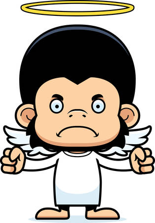 angry angel: A cartoon angel chimpanzee looking angry. Illustration