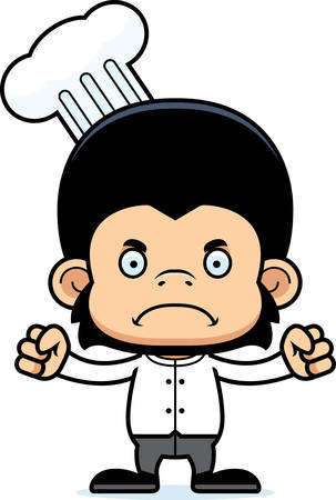 chimpanzee: A cartoon chef chimpanzee looking angry.