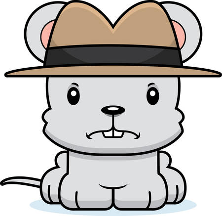 A cartoon detective mouse looking angry.