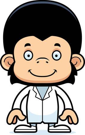 A cartoon doctor chimpanzee smiling.