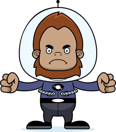sasquatch: A cartoon spaceman sasquatch looking angry. Illustration