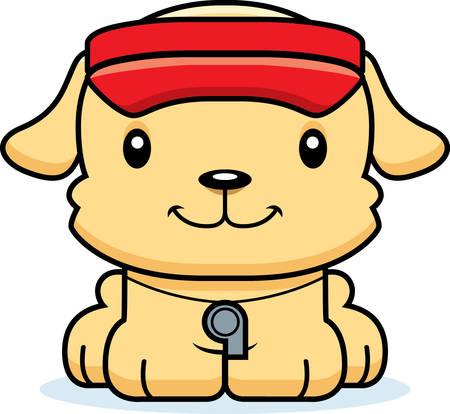 笑みを浮かべて漫画ライフガード子犬。  イラスト・ベクター素材