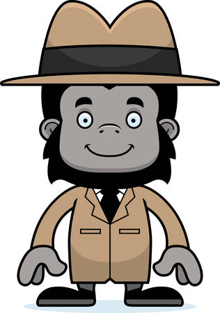 A cartoon detective gorilla smiling. Çizim