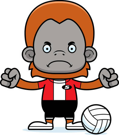 orangutan: A cartoon volleyball player orangutan looking angry. Illustration