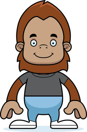 sasquatch: A cartoon sasquatch smiling.