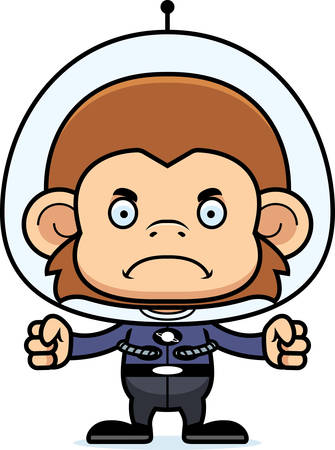 spaceman: A cartoon spaceman monkey looking angry.