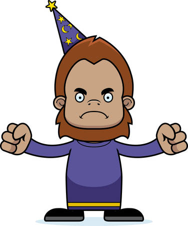 sasquatch: A cartoon wizard sasquatch looking angry. Illustration
