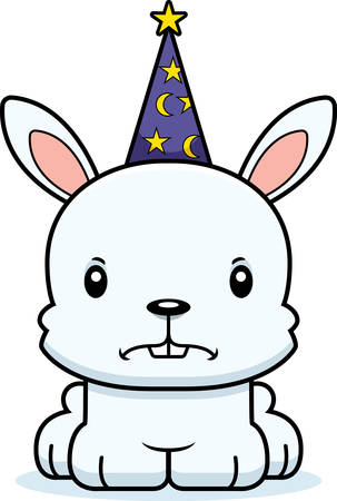 A cartoon wizard bunny looking angry. Ilustrace