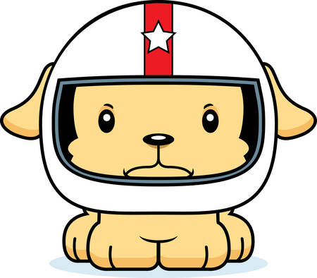 daredevil: A cartoon race car driver puppy looking angry.