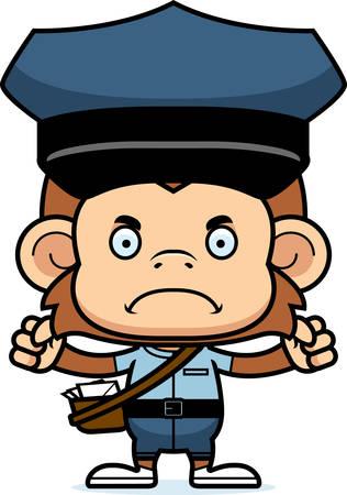 A cartoon mail carrier monkey looking angry. Ilustração