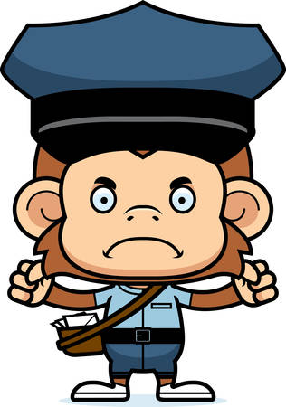mail carrier: A cartoon mail carrier monkey looking angry. Illustration
