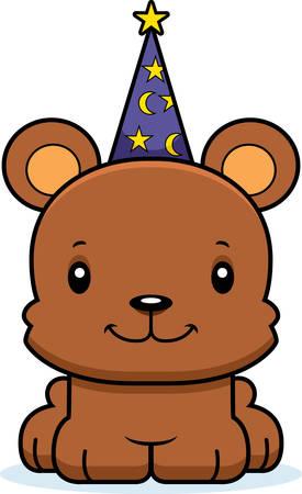 A cartoon wizard bear smiling.