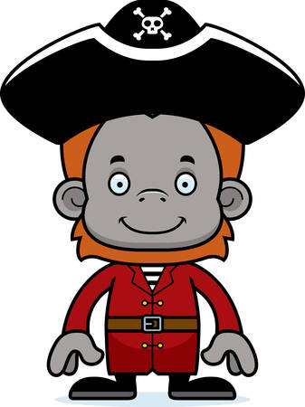orangutan: A cartoon pirate orangutan smiling.