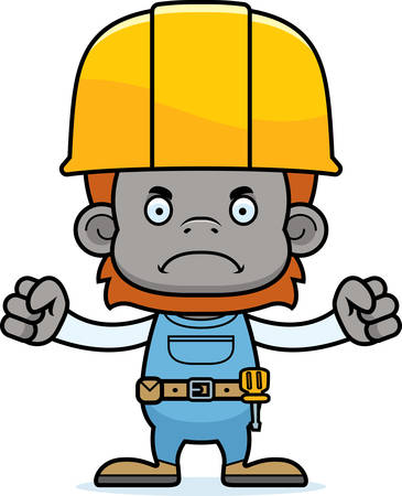 tool belt: A cartoon construction worker orangutan looking angry.