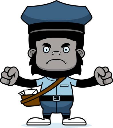 Een cartoon postbode gorilla kijken boos. Stock Illustratie