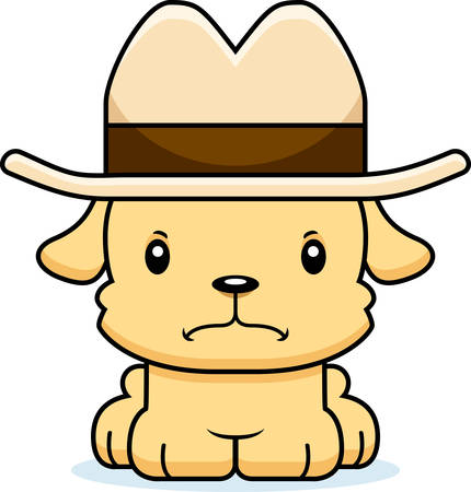 cowboy hat: A cartoon cowboy puppy looking angry. Illustration