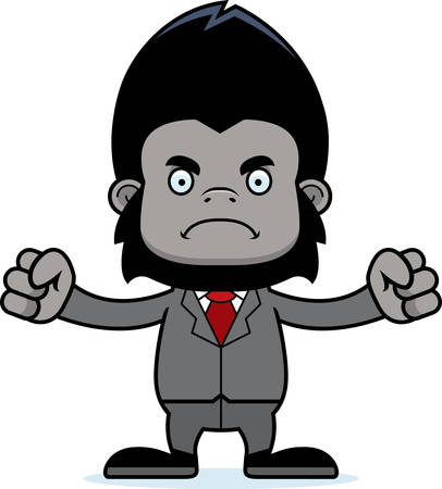 businessperson: A cartoon businessperson gorilla looking angry.