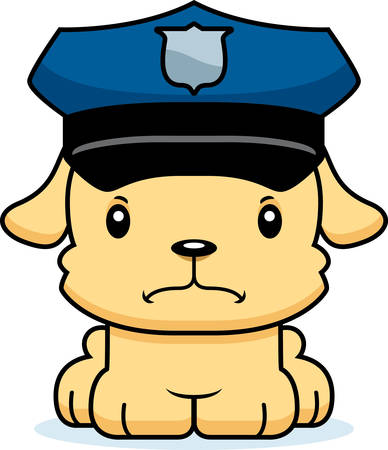 A cartoon police officer puppy looking angry.