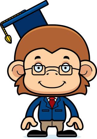 A cartoon teacher monkey smiling.