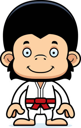 gi: A cartoon karate chimpanzee smiling.