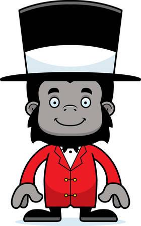 ringmaster: A cartoon ringmaster gorilla smiling.