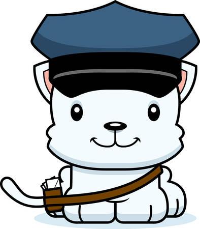 mail carrier: A cartoon mail carrier kitten smiling.