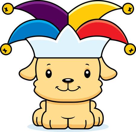 jester: A cartoon jester puppy smiling. Illustration