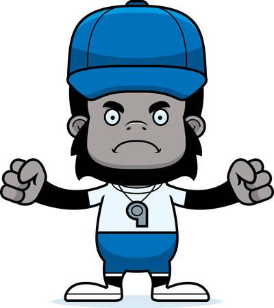 A cartoon coach gorilla looking angry.