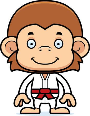 gi: A cartoon karate monkey smiling. Illustration