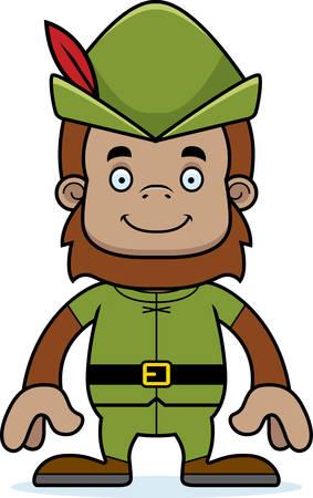 robin hood: A cartoon Robin Hood sasquatch smiling.