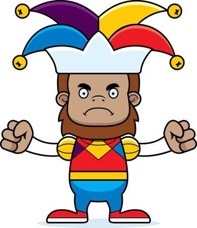 sasquatch: A cartoon jester sasquatch looking angry.