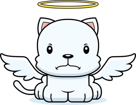 angry angel: A cartoon angel kitten looking angry.