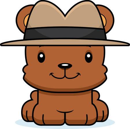 A cartoon detective bear smiling.