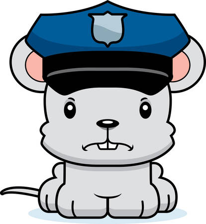 police cartoon: A cartoon police officer mouse looking angry.