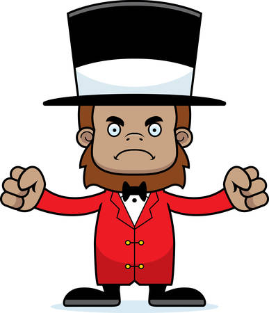ringmaster: A cartoon ringmaster sasquatch looking angry. Illustration