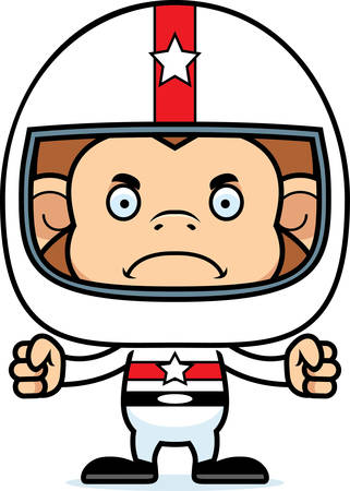 daredevil: A cartoon race car driver monkey looking angry. Illustration