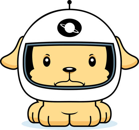 spacesuit: A cartoon astronaut puppy looking angry.