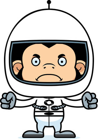 chimpanzee: A cartoon astronaut chimpanzee looking angry.