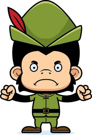 robin hood: A cartoon Robin Hood chimpanzee looking angry.