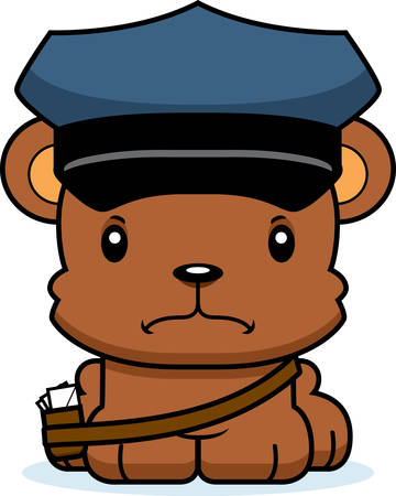 A cartoon mail carrier bear looking angry.