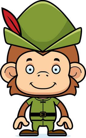 robin hood: A cartoon Robin Hood monkey smiling.